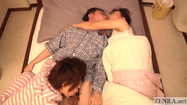 bizarre jav blowjob secret kissing threesome