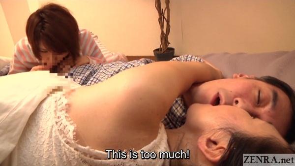 nighttime jav blowjob kissing threesome