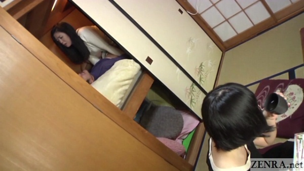 risky jav sex in closet with someone outside