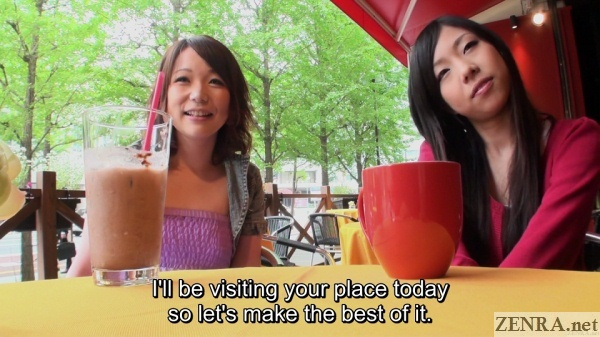 interview with jav amateurs at cafe before threesome