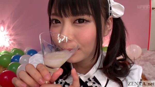 natsume airi drinking cum from glass