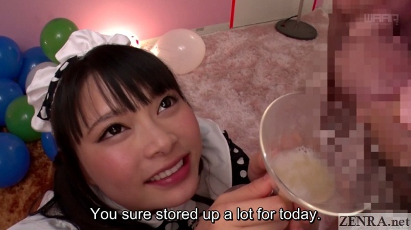airi natsume holds up wine glass for cum collection