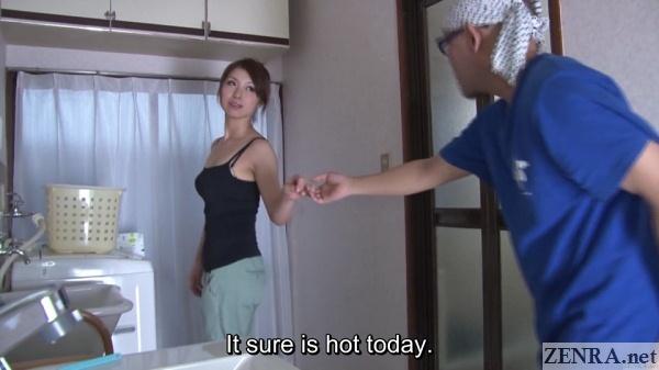 katou tsubaki leading customer to bathroom