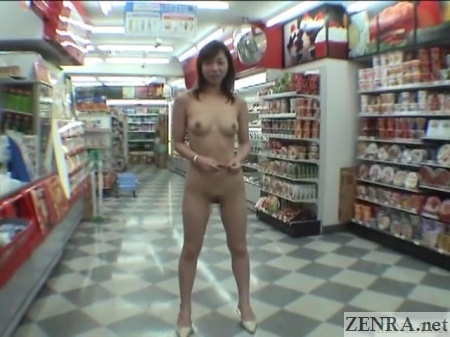naked woman posing in japanese convenience store