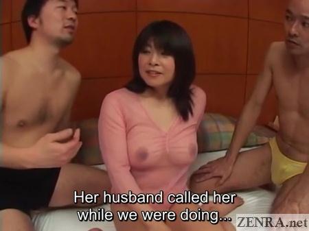 sheer shirt japanese busty wife threesome begins