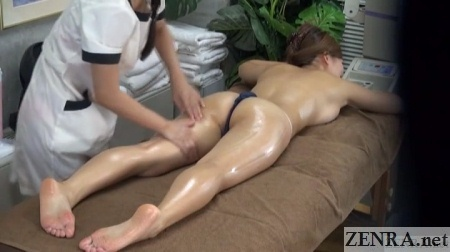 prone japanese oil massage busty client
