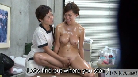 oiled up busty japanese client fingered by masseuse