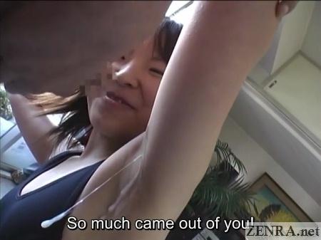 big cumshot over japanese armpit