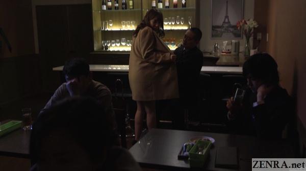 kisaki aya lewd woman at bar naked under jacket