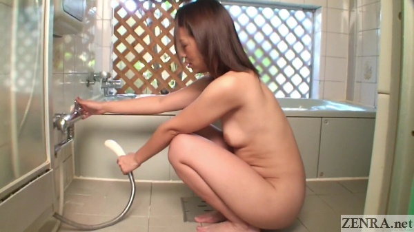 naked japanese milf about to shower