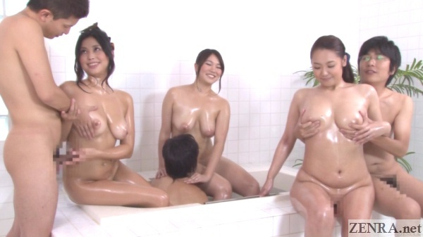 voluptuous japanese milfs bathing with small men