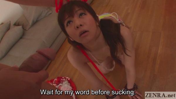 hikaru aoyama looks up at uncensored dick