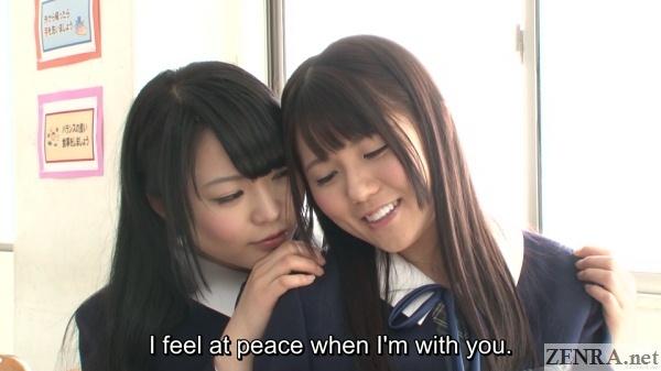 schoolgirls in japan in classroom at peace