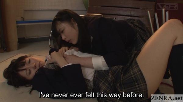 lesbian jav schoolgirls cuddling in storage room