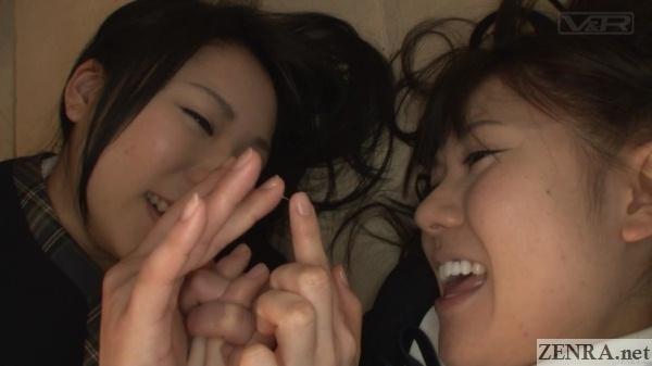 jav schoolgirls play with pussy juice on fingers