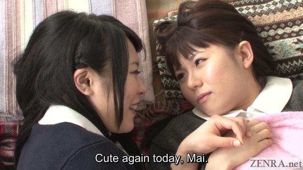 kawagoe yui and araki mai in bed in the morning