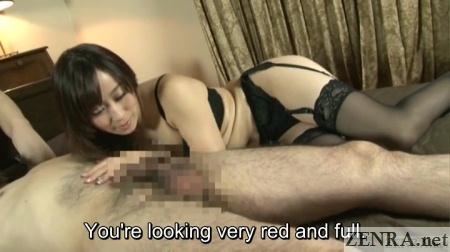 lingerie clad yuu kawakami staring at slave erection