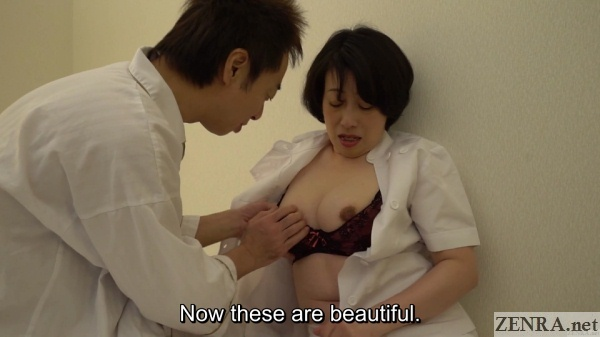 pale breasts of mature japanese masseuse exposed