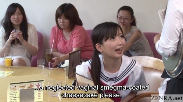 vile japanese schoolgirl orders cheesecake