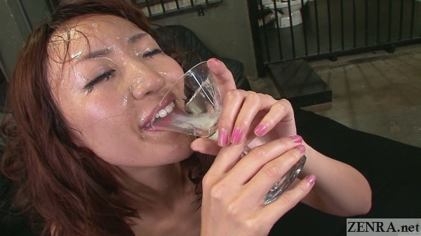 jav bukkake face actress drinks cum from wine glass