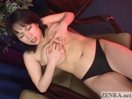 busty japanese woman in panties plays with breasts