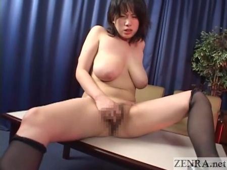 masturbating busty japanese woman