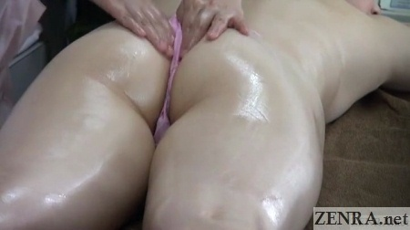 close up thong clad prone japanese massage