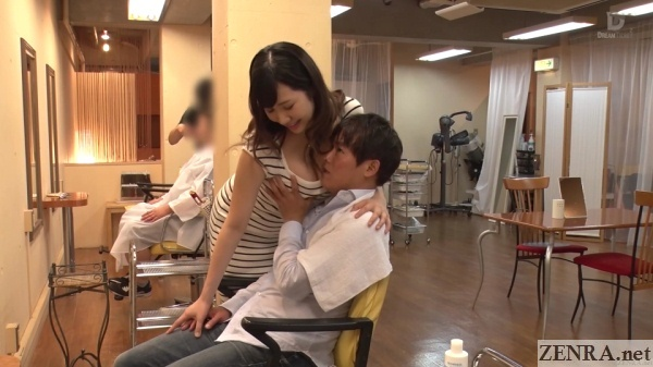 groping busty japanese hair stylist