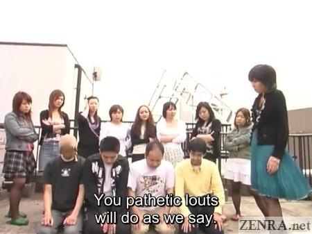 masochistic men on rooftop in japan