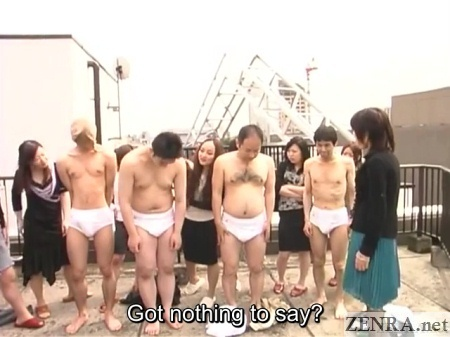 underwear clad japanese men on rooftop for perversion play