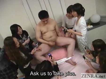 japanese women take pics of masturbating man