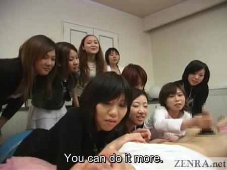 japanese cfnm handjob for masochistic man