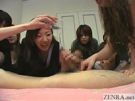 emptying lotion onto hard dick jav cfnm