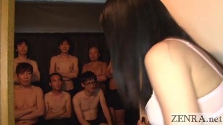 lingerie clad jav star enters room full of men