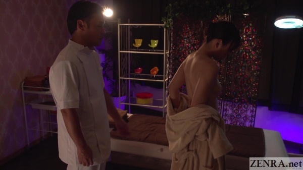 demure married japanese woman strips for massage