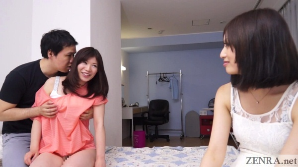 japanese friend watches breast groping foreplay