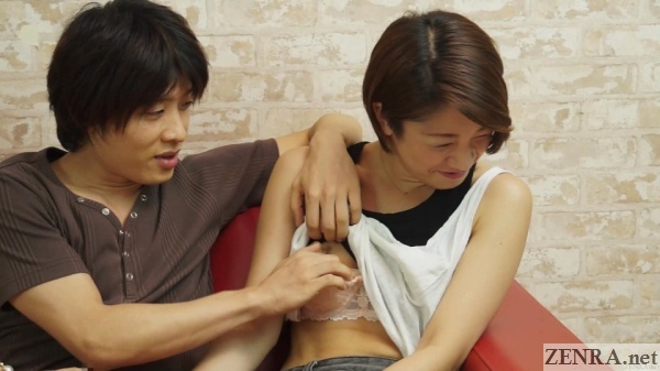 japanese amateur short hair breasts fondled