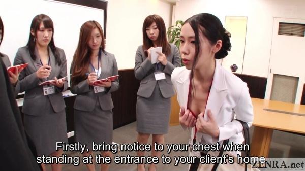 flashing bra to sell insurance japan