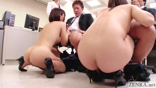 squatting naked jav female employees giving blowjobs