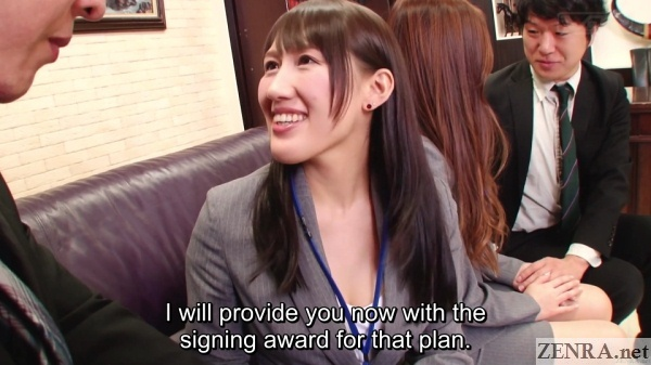 japanese insurance saleswomen new client signed on