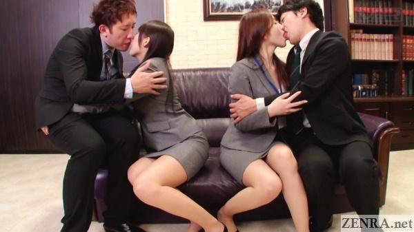 jav insurance saleswomen kissing clients