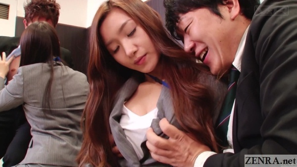beautiful insurance saleswomen breast groping