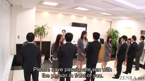 japanese big group assembled for sex lesson at office