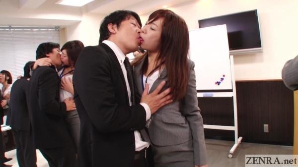 kissing breast groping jav sex party