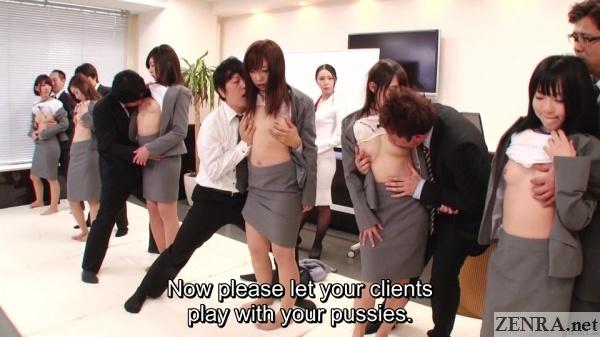 crazy jav syncronized office orgy