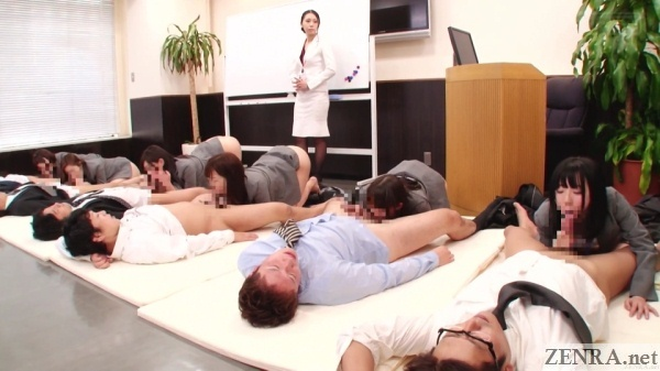 japanese office ladies butts in air blowjob orgy