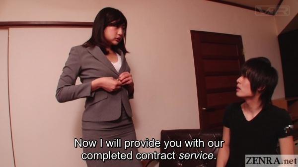 japanese insurance saleswoman starts to undress