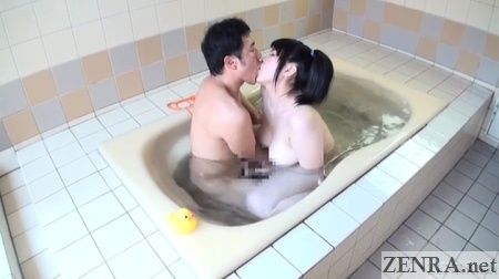 pale jav star kissing in bathtub