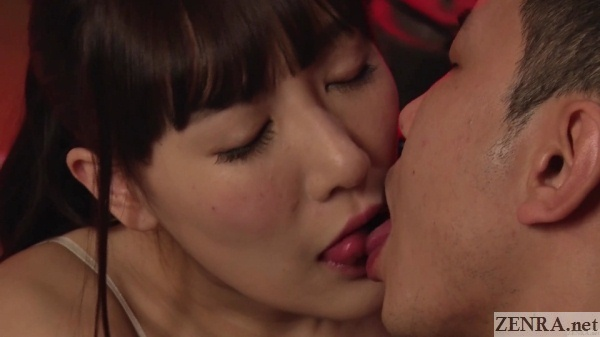 komine miko kissing close up