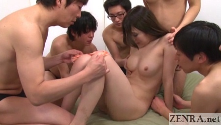 pale jav star stripped naked for gangbang